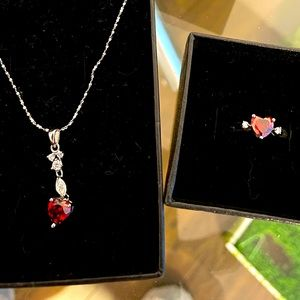 Sterling silver necklace and ring set brand new
